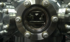 You can see the mirrors for the optical cavity inside this vacuum system